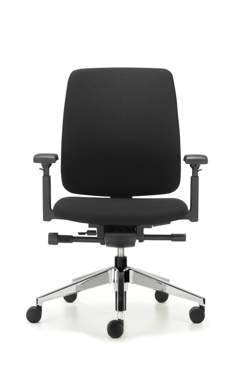 Front view of Comforto 29 task chair, model 2975 with upholstered backrest and arm rests